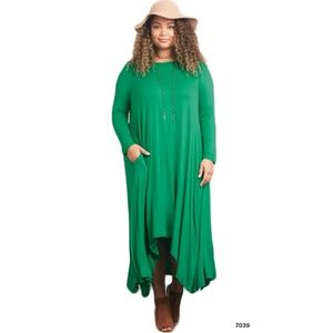 2e56f46db1 Dresses   Skirts - Plus Size Green Drape Asymmetrical Dress Pockets